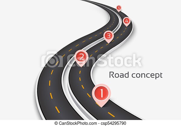 winding 3d road concept on a white background timeline template csp54295790