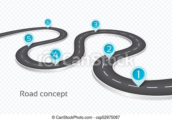winding 3d road infographic concept on a white background timeline template csp52975087