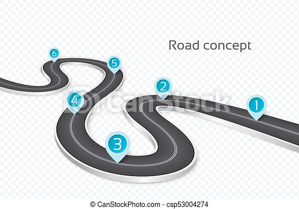 winding 3d road infographic concept on a white background timeline template csp53004274