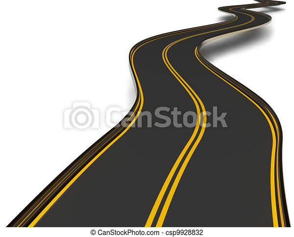 winding asphalt road with double dividing strip - csp9928832