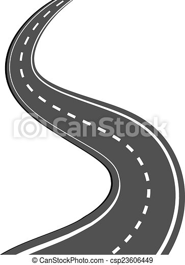 Winding road. Winding asphalt road with markings leading into the ...