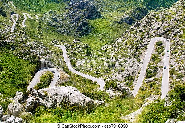 Winding road in mountain near Sacalobra in Mallorca - csp7316030