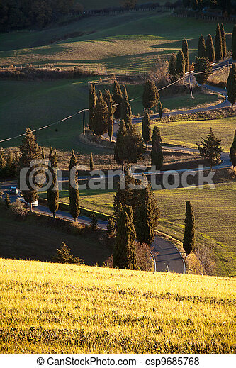Winding road in Tuscany - csp9685768