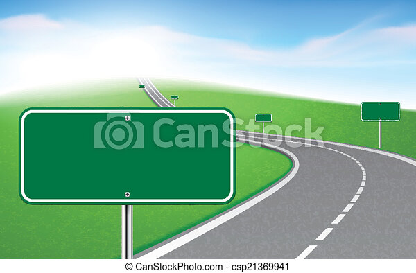 winding road with several road signs  - csp21369941