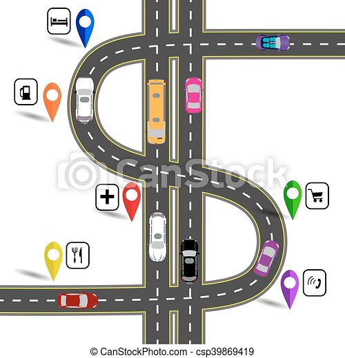 Winding road with signs  The path specifies the navigator  Humorous image   illustration