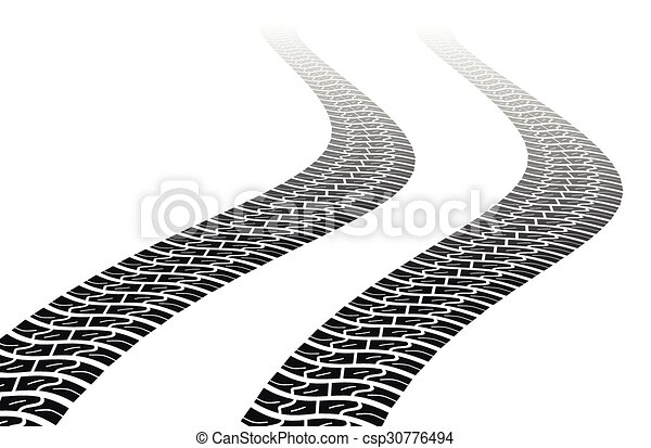 Winding trace of the tires - csp30776494
