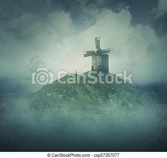 windmühle, hügel - csp57357077