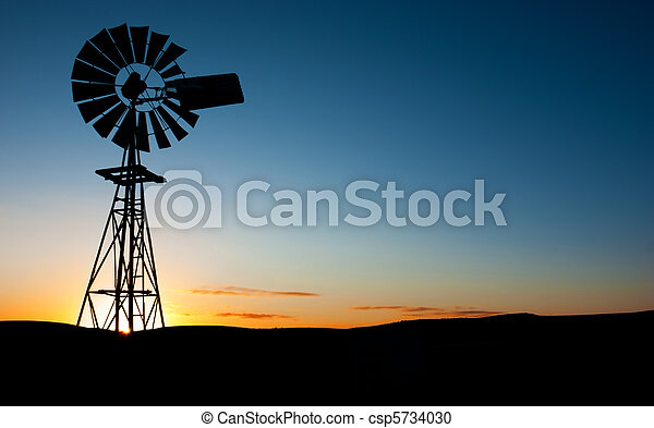 windmühle, sonnenaufgang - csp5734030