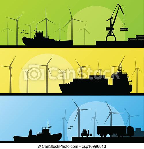windmühlen, elektrizität, plakat, lin, wasserlandschaft, porto , generatoren, meer, wind - csp16996813
