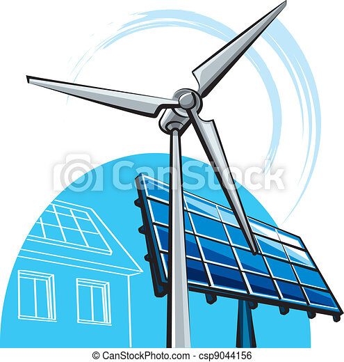 windmill and solar panel - csp9044156