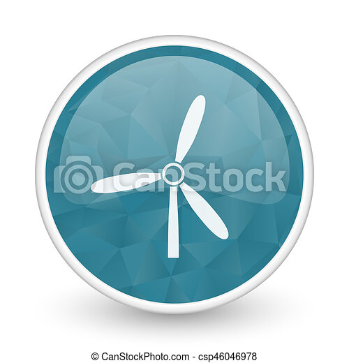 Windmill brillant crystal design round blue web icon. - csp46046978