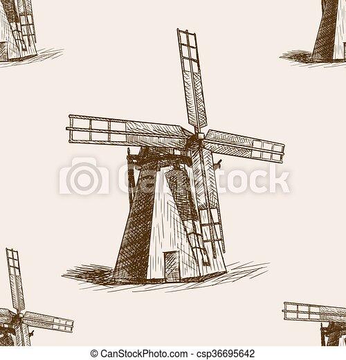 Windmill hand drawn sketch seamless pattern vector - csp36695642