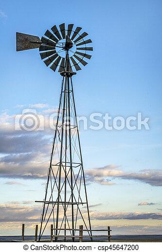 windmill in Colorado prairie - csp45647200