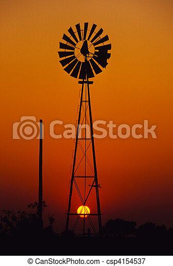 Windmill in Sunset - csp4154537