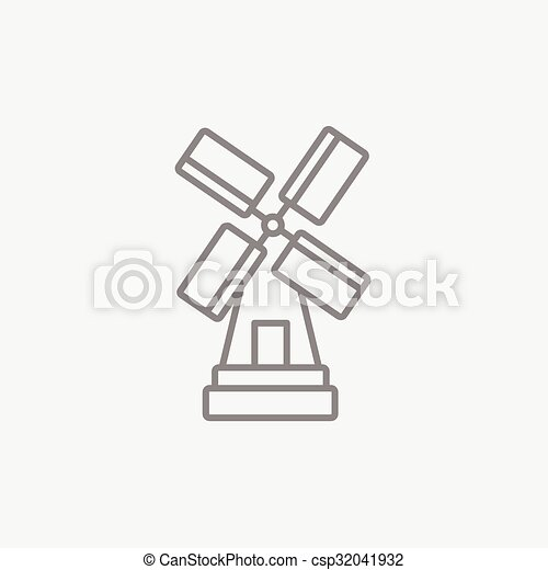 Windmill line icon. - csp32041932