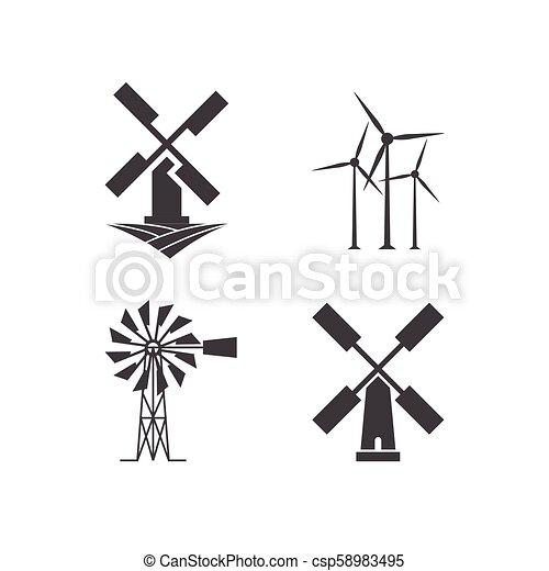 windmill logo design template illustration of windmill logo design