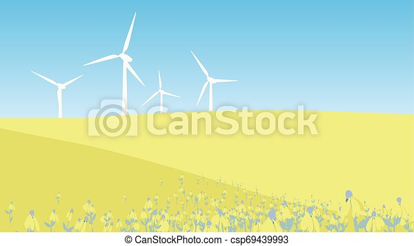 Windmill on the hill with flower field landscape - csp69439993