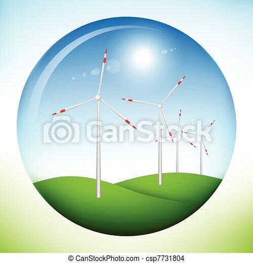 Windmill power generators inside sphere - csp7731804