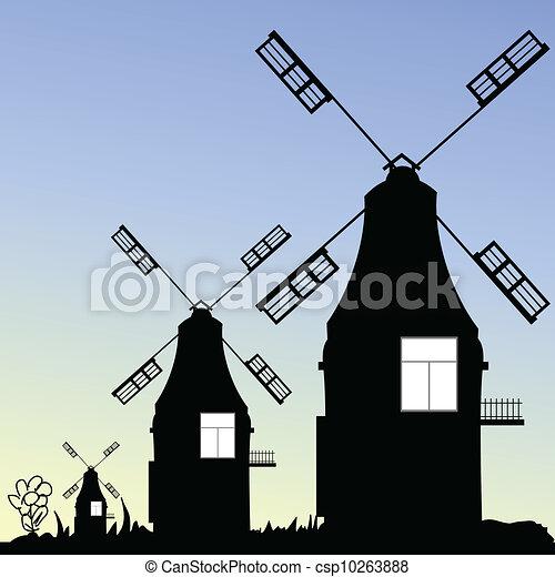 windmill three vector in black - csp10263888