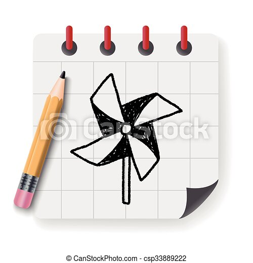 windmill toy doodle - csp33889222