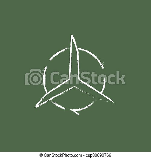 Windmill with arrows icon drawn in chalk. - csp30690766