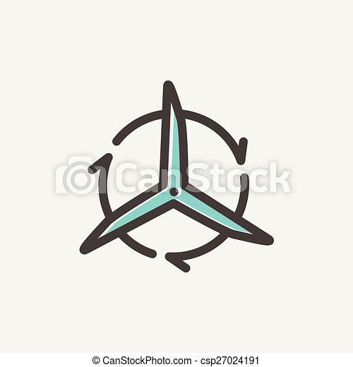 Windmill with arrows thin line icon - csp27024191