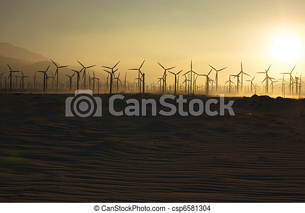 Windmills and Sand at Sunset 1 - csp6581304
