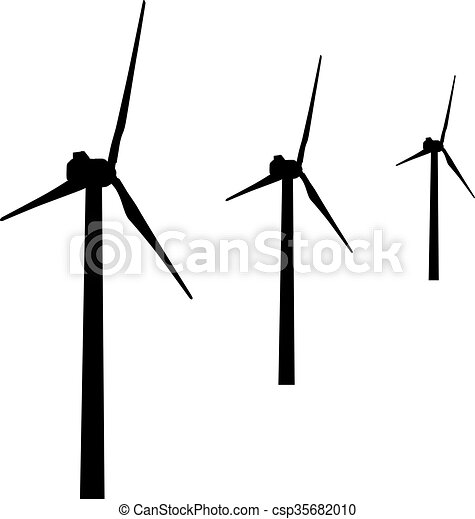 Windmills For Electric Power Production Vector Illustration