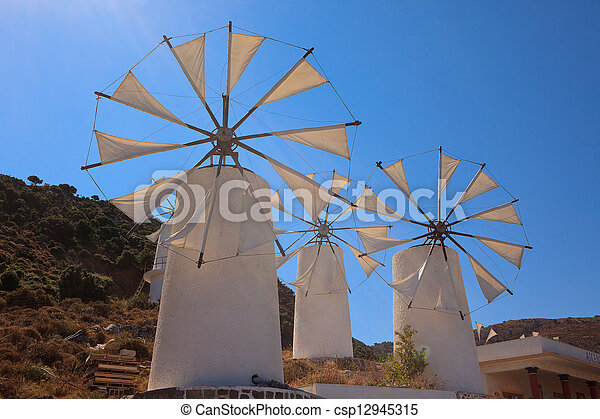 Windmills in the Lasithi Plateau - csp12945315