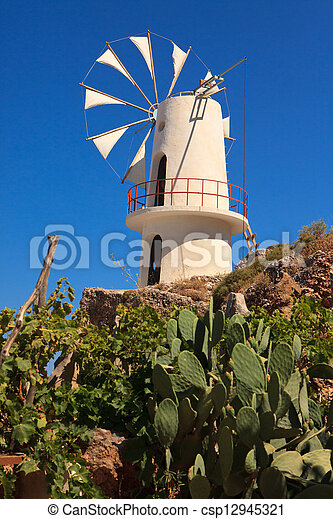 Windmills in the Lasithi Plateau - csp12945321