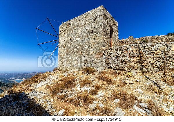 Windmills of the Lasithi plateau, Crete - Greece - csp51734915
