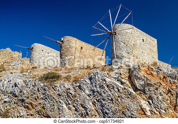 Windmills of the Lasithi plateau, Crete - Greece - csp51734921