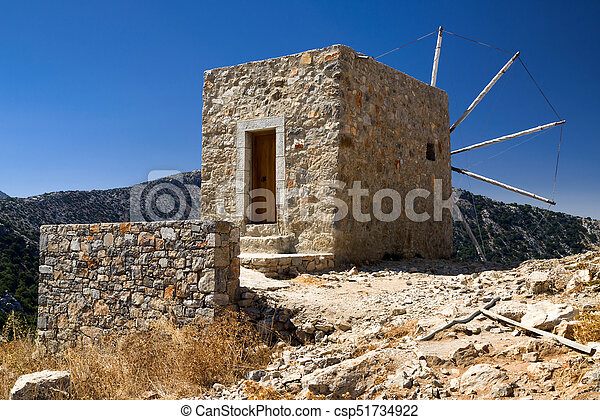 Windmills of the Lasithi plateau, Crete - Greece - csp51734922