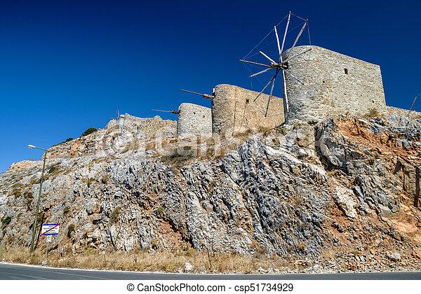 Windmills of the Lasithi plateau, Crete - Greece - csp51734929