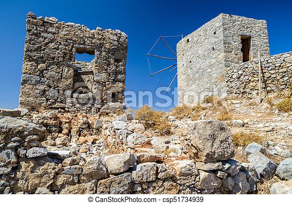 Windmills of the Lasithi plateau, Crete - Greece - csp51734939