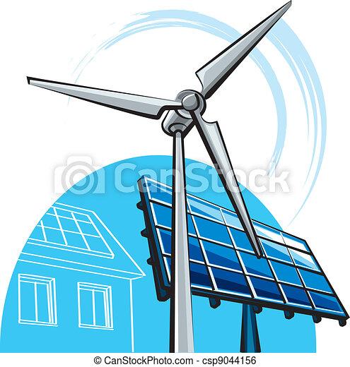 windmolen, zonnepaneel - csp9044156