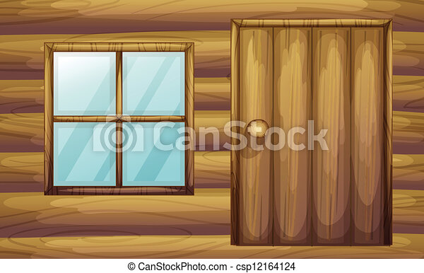 Illustration Of Window And Door Of A Wooden Room Vector