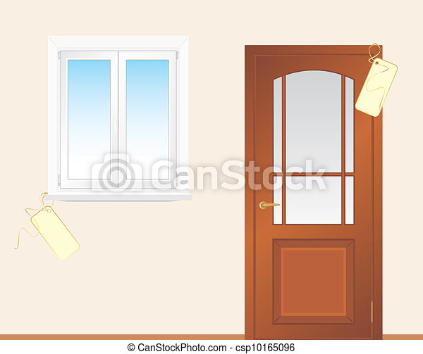 Window and wooden door - csp10165096