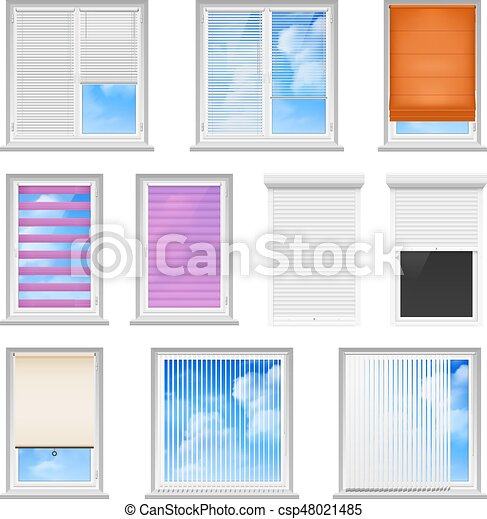 Window Blinds Colored Flat Set Window Blinds Colored Flat