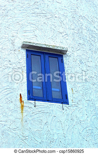Window blue wall outdoor - vintage style. - csp15860925