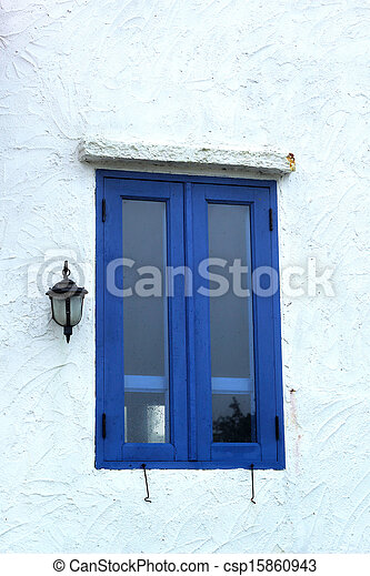 Window blue wall outdoor - vintage style. - csp15860943