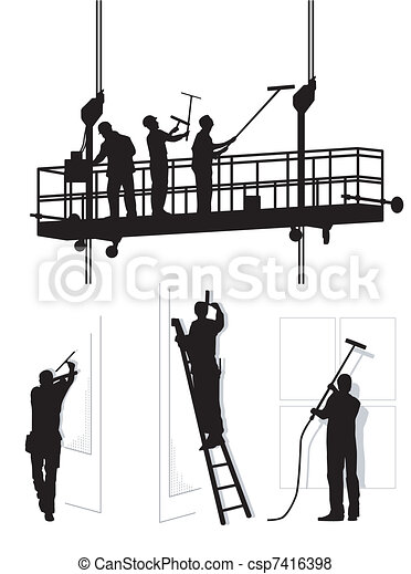 Window Cleaners At Work Vector Search Clip Art