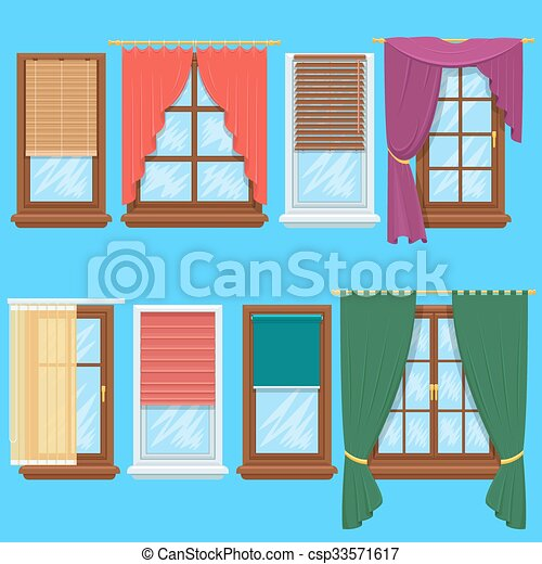 Window Curtains And Blinds Vector Set Window Curtains And