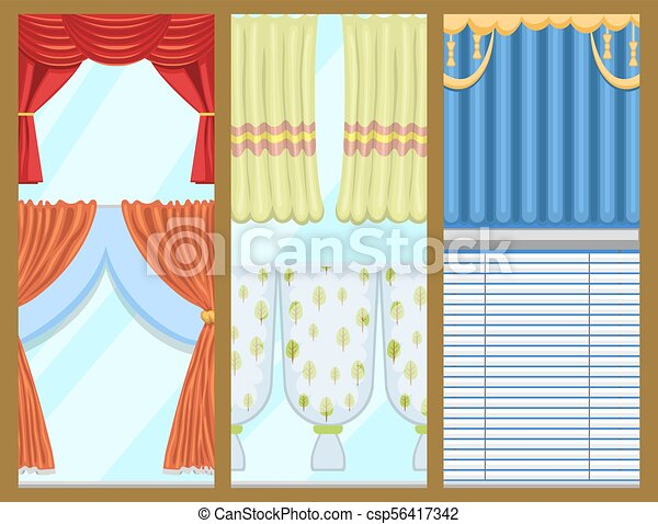 Window Curtains And Room Blinds Jalousie For House Or Creative Home Interior Vector Illustration Window Curtains And Room