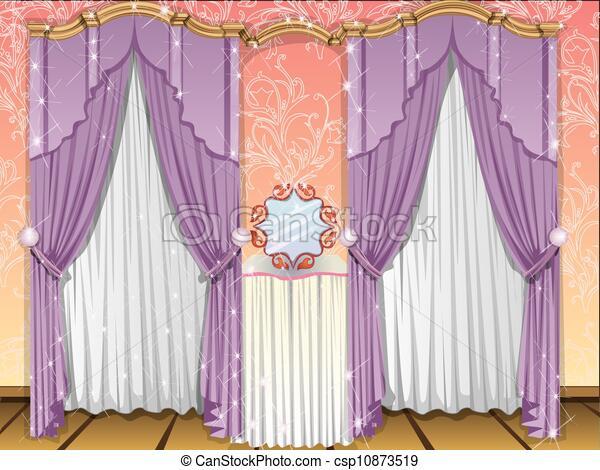 Window Curtains Illustration & Window curtains illustration. Window curtains violet and ...