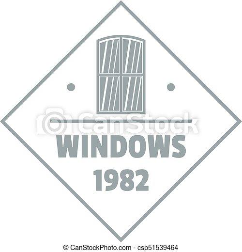 Window frame logo, gray monochrome style. Window frame logo. gray ...
