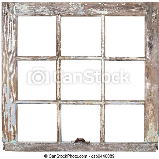 Window frame. A rustic six pane window frame. .