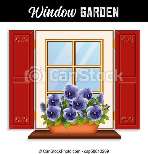 Window Garden, Sky Blue Pansy Flowers in Clay Planter - csp58810269
