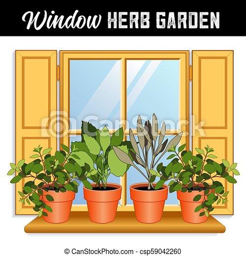 Window Herb Garden With Italian Oregano Garden Sage Sweet Basil