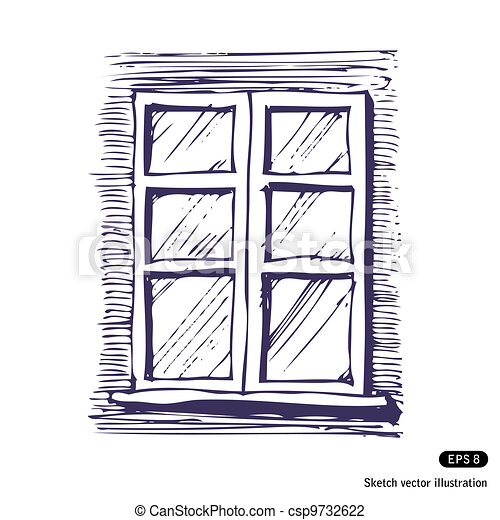 Window - csp9732622  sc 1 st  Can Stock Photo & Window. Hand drawn vector isolated on white vector illustration ... pezcame.com